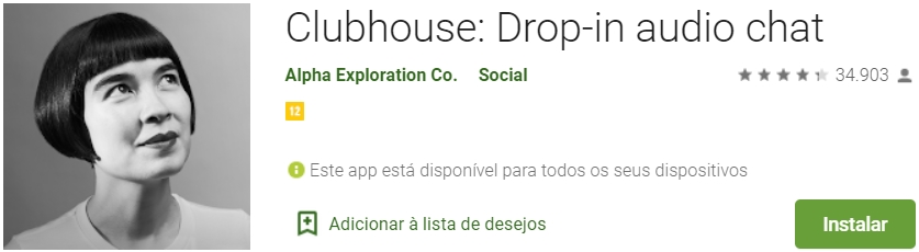 ClubHouse na Google Play Store