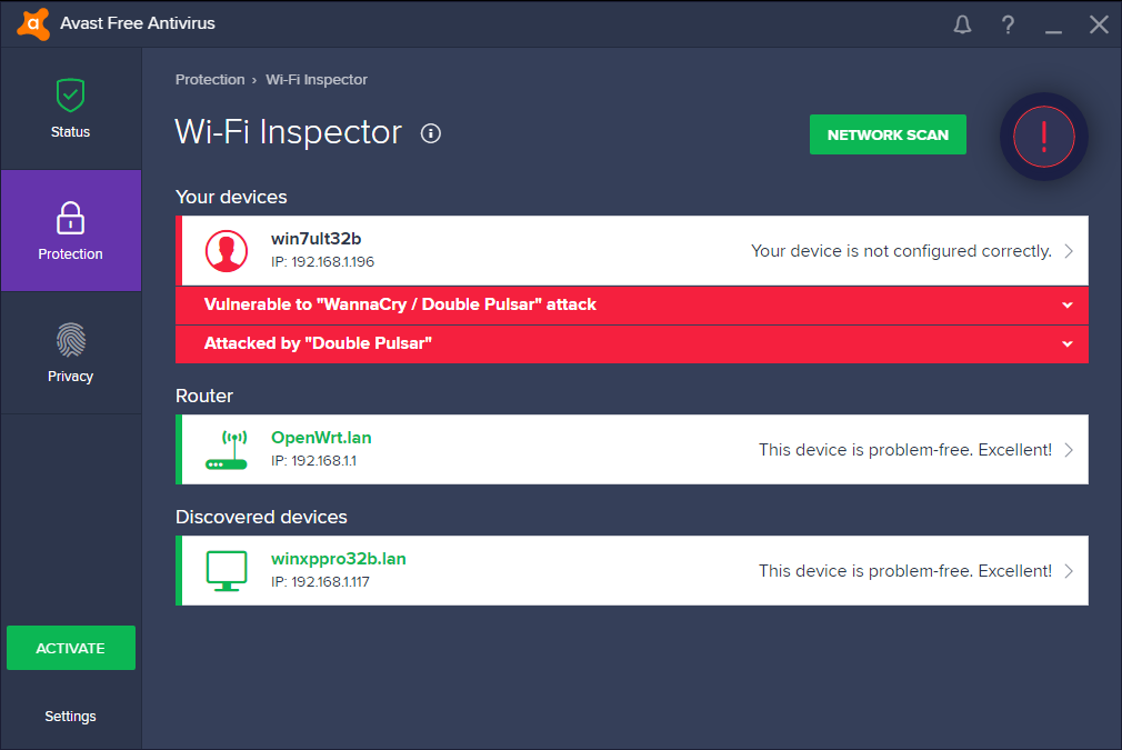 Функция проверки Wi-Fi Avast определяет уязвимо ли устройство перед вирусом-вымогателем Wanna Cry
