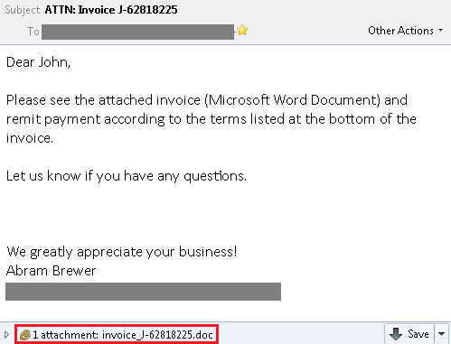 infected phishing email