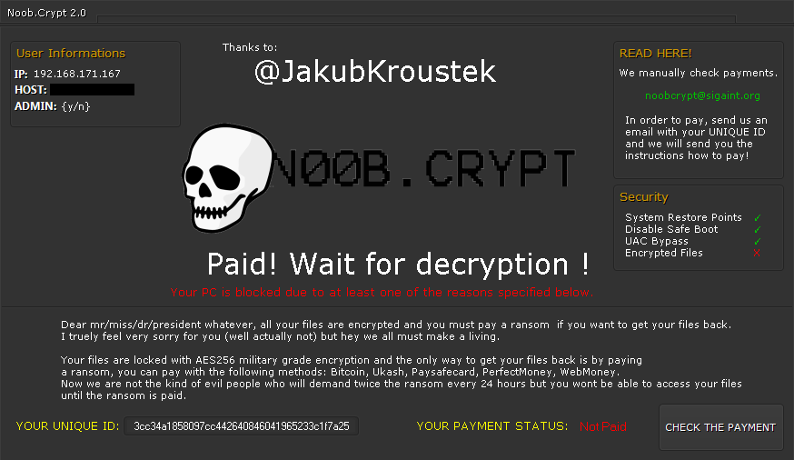 NoobCrypt ransomware ransom message