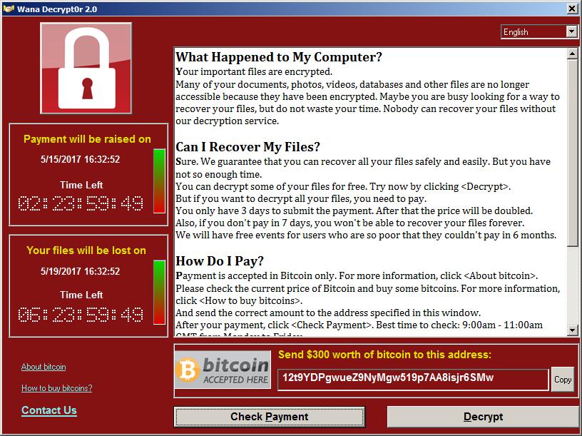 Вирус WannaCry требует выкуп