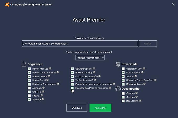 Configurações de instalação do Avast - Avast SafePrice