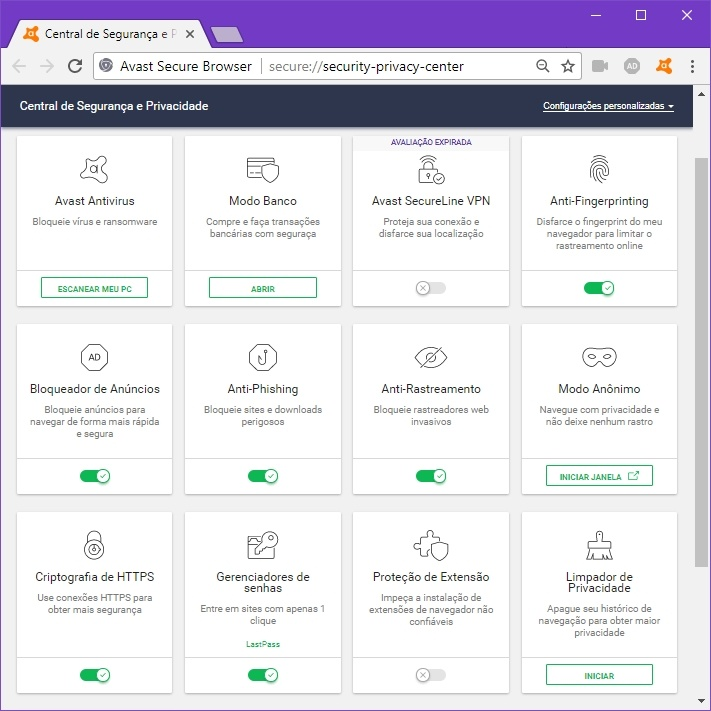 Avast Secure Browser: Central de Segurança e Privacidade