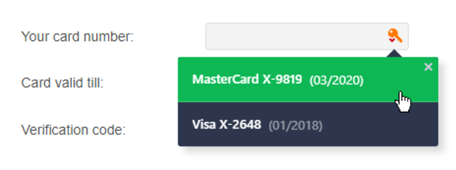 Avast Passwords autofills your credit card information