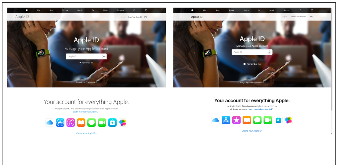 phishing-fake-vs-real-apple-site